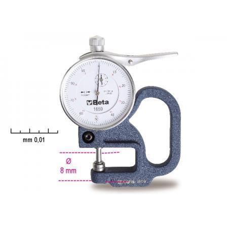 tloušťkoměr s číselníkovým ukazatelem,  přesnost 0,01 mm.