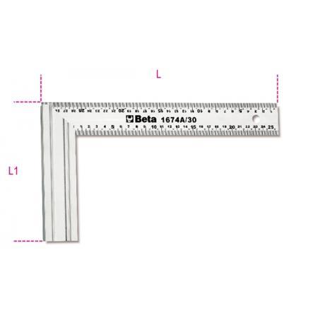 ramena tesařských úhelníků  vyrobeno z nerezové oceli,  s hliníkovými podstavami, dvojitá metrická stupnice