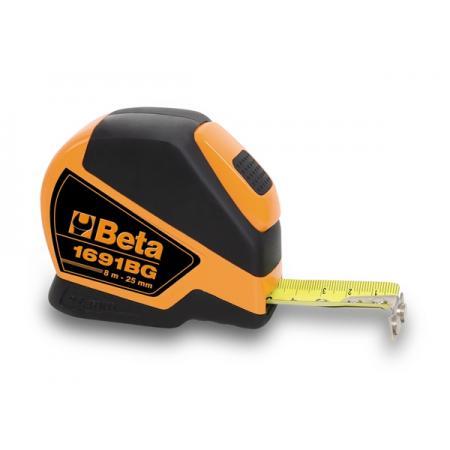 páskové metry z dvou různých materiálů, pouzdra z ABS odolná proti nárazům, ocelové pásky, třída přesnosti II