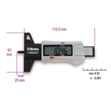 digitální hloubkoměr na vzorky pneumatik