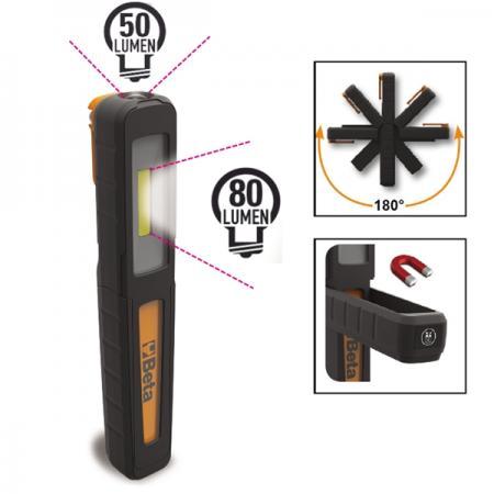akumulátorová kapesní kontrolní svítilna,  s dvěma stupni svícení: žárovka a svítilna