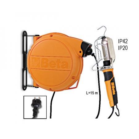 automatický kabelový buben  s kontrolní lampou 230 VAC, typ patice E27 a ocelový chránič