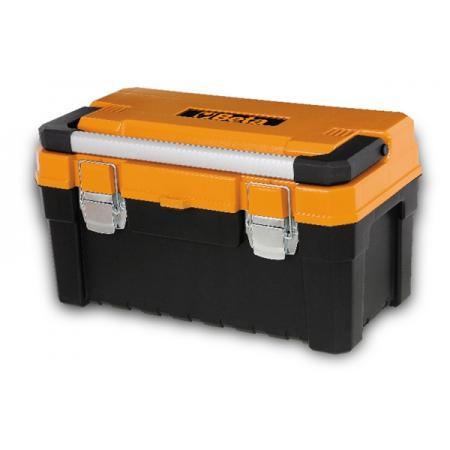 krabice na nářadí, vyrobená z plastu, s vnitřní přihrádkou na předměty, prázdná