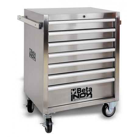 ?nářaďový vozík se sedmi zásuvkami, kompletně vyrobený z nerezové oceli