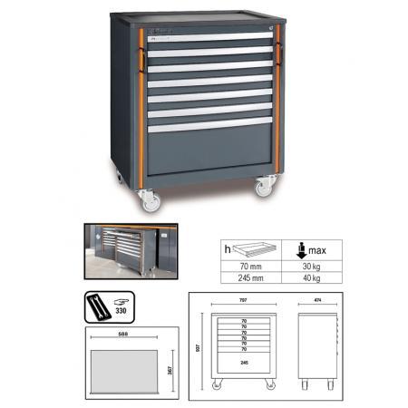 mobilní kabina na kolečkách se 7 zásuvkami, pro kombinaci nábytku pro autodílnu