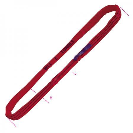 kulaté smyčky, červené 5 t pás z vysoce pevného polyesteru (PES)