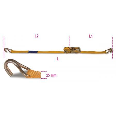 řehtačkové upnutí s jednoduchým hákem, LC 750 kg pás z vysoce pevného polyesteru (PES)