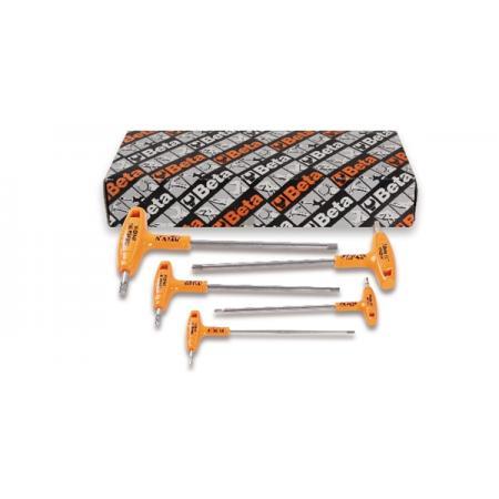 ?sada 5 přesazených šestihranných klíčů, s rukojetěmi pro vysoký utahovací moment, vyrobeny z nerezové oceli