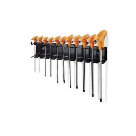 sada 11 lomených klíčů s rukojeťmi na šrouby s hlavou Torx® s držákem