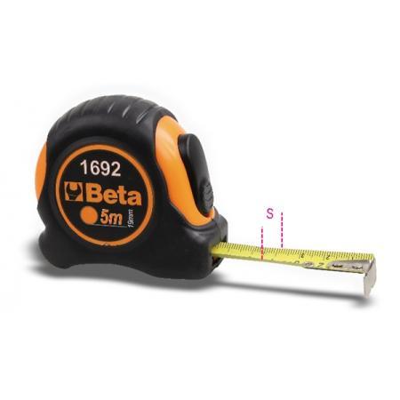 páskové metry, z dvou různých materiálů, pouzdra z ABS odolná proti nárazům,  ocelové pásky, třída přesnosti II