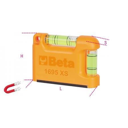 kapesní vodováha s magnetickou podstavou tvaru V vyrobeno z profilového hliníku 2 nerozbitné nádobky přesnost: 1 mm/m