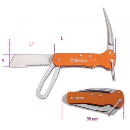 nože pro lodní údržbu, čepele z nerezové oceli, hliníkové rukojeti