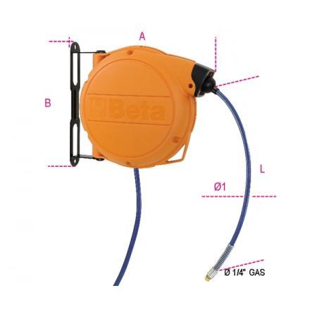 automatický hadicový naviják plastové těleso odolné proti nárazům na stlačený vzduch nebo studenou vodu