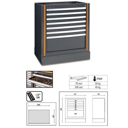 pevný modul se 7 zásuvkami, pro kombinaci nábytku pro autodílnu