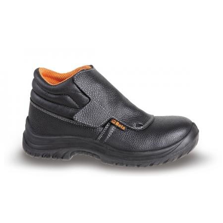 šněrovací kotníková bota z přírodní kůže, vodotěsná, se systémem rychlého otevírání a přední ochranou se zapínáním na řemínek
