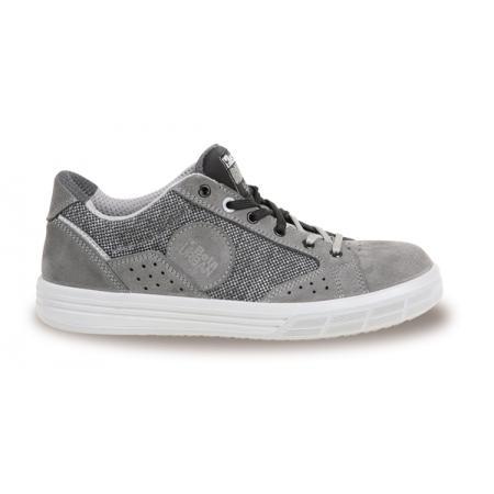 velurová bota, s kanafasovými vložkami, šedá