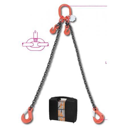 řetězová smyčka,  2 větve s drapákovými háky, v plastovém pouzdře