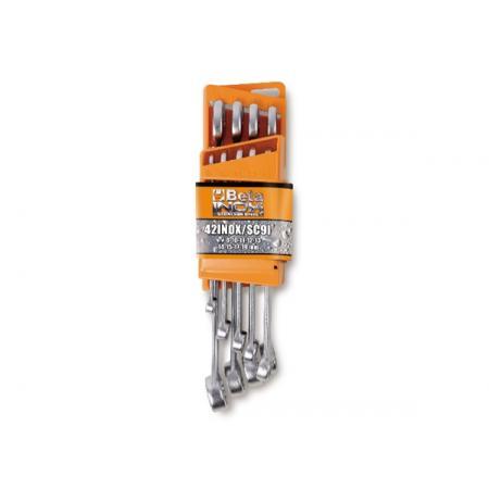 sada 9 kombinovaných klíčů vyrobených z nerezové oceli s kompaktní opěrou
